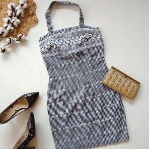 Vintage • black gingham embroidered mini dress